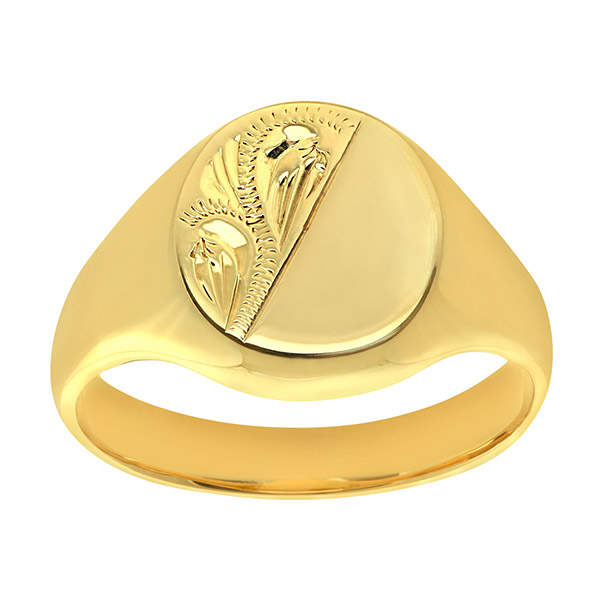Mens Engraved Oval Signet Ring | Mens 9ct Yellow Gold Extra Heavy Engraved Oval Signet Ring