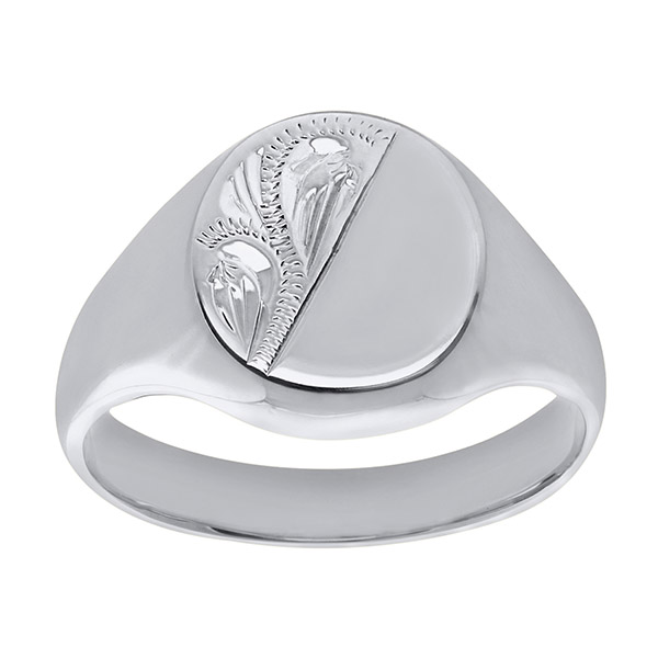 Men's Solid Engraved Oval White Gold Signet Ring | Mens 9ct White Gold Extra Heavy Engraved Oval Signet Ring