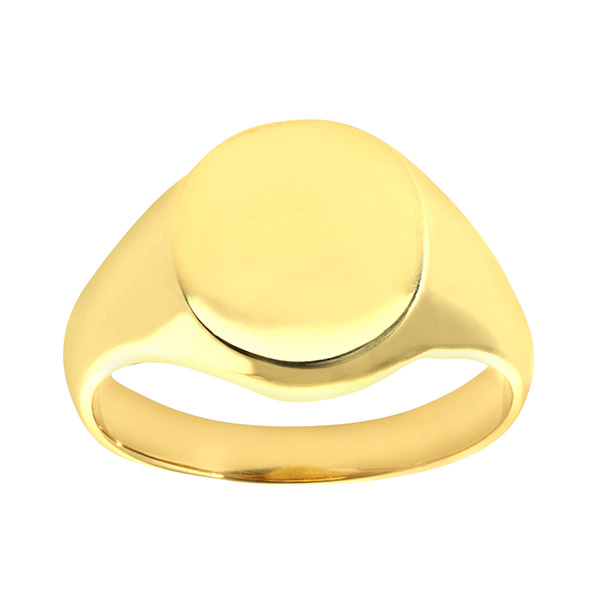 Mens Oval Solid 9ct Yellow Gold Signet Ring | Mens 9ct Yellow Gold Extra Heavy Plain Oval Signet Ring