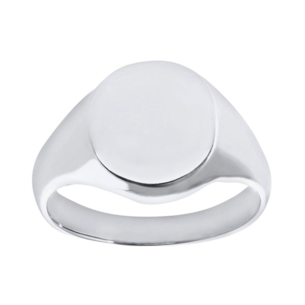 Mens Oval White Gold Signet Ring | Mens 9ct White Gold Extra Heavy Plain Oval Signet Ring