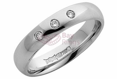 Platinum Three Diamonds Wedding Ring 4 mm Platinum Medium Polished