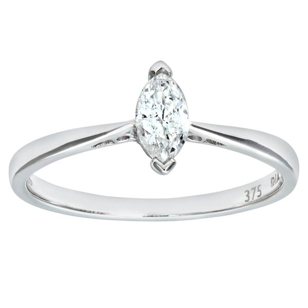 Women`s 9ct White Gold 0.25 ct Marquise Diamond Solitaire Engagement Ring