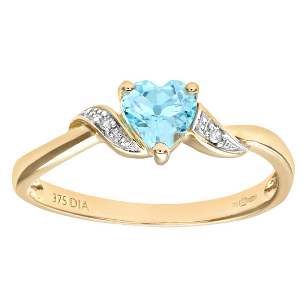9ct Yellow Gold Blue Topaz And Diamond Heart Ring