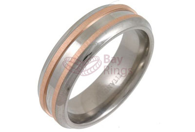 Titanium Ring Rose Gold Double Inlaid Layers Bevelled Edged | Rose Gold Inlaid Titanium Ring