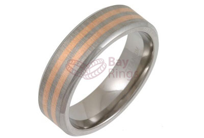 Titanium Ring Rose Gold Inlaid | Rose Gold Inlaid Titanium Ring