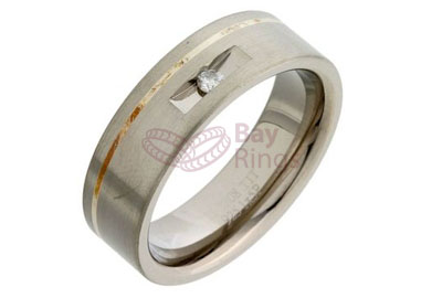 Titanium Ring Silver Inlaid Fancy Set Diamond | Silver Inlaid & Diamond Set Titanium Ring