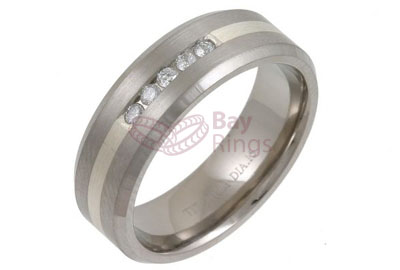 Titanium Ring Silver Inlaid Five Diamonds | Silver Inlaid & Diamond Set Titanium Ring
