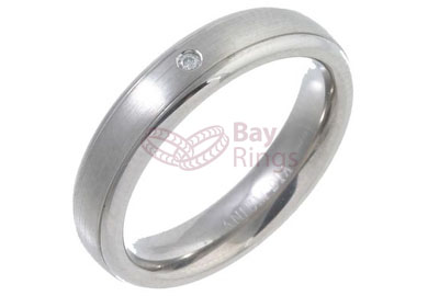 Diamond Set Court Shape Titanium Ring | Diamond Set Titanium Ring