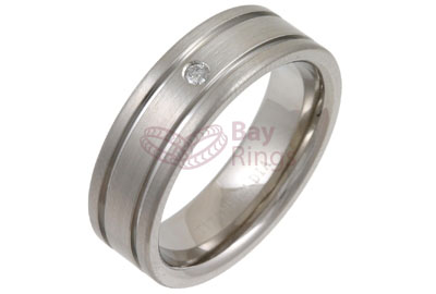 Diamond Set Double Grooved Titanium Ring | Diamond Set Grooved Titanium Ring