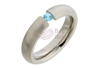 Blue Topaz Stone Set Titanium Ring | Blue Topaz Stone Set Titanium Ring