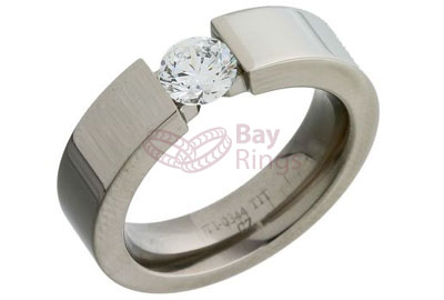 CZ Single Stone Set Titanium Ring | CZ Set Titanium Ring