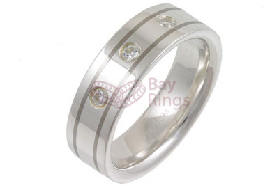 Titanium Ring Silver Inlaid Three CZ Stones | Silver Inlaid & CZ Stones Set Titanium Ring