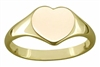 Engravable Solid 9ct  Gold Ladies Heart Signet Ring