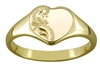 Solid 9ct Gold Ladies Engraved Heart Signet Ring