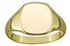 Engravable Solid 9ct Gold Ladies Cushion Signet Ring