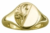 Mens Engraved Oval Signet Ring